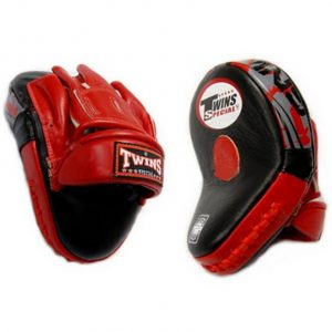 Twins Special Leather Curved Focus Mitts  PML 10 Black Red