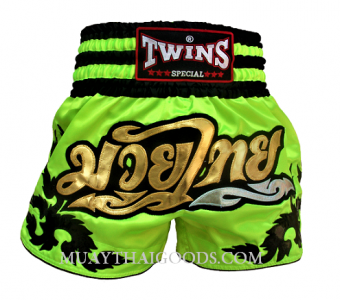 Fluo Twins Special Muay Thai Boxing Shorts Green Lime