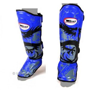 Twins Shin Pads guards Protection Dragon Blue pattern SGL10 DOUBLE PADDED