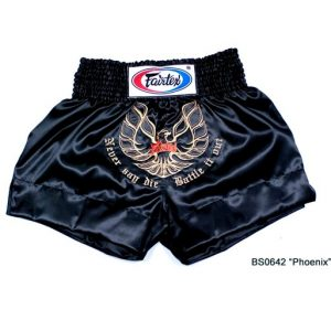 FAIRTEX Muay Thai Boxing Shorts Heavy BLACK Satin PHOENIX