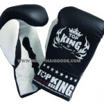 TOP KING COMPETITION BOXING GLOVES BLACK WHITE LACES