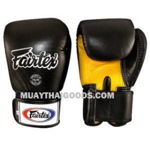FAIRTEX BGV1 BOXING GLOVES BLACK YELLOW PALM
