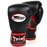 BGVLA - TWINS SPECIAL BOXING - BLACK RED - AIRFLOW - MUAY THAI GLOVES MADE IN LEATHER