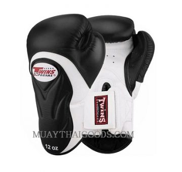TWINS SPECIAL BGVL6 NEW BLACK WHITE PALM BOXING GLOVES