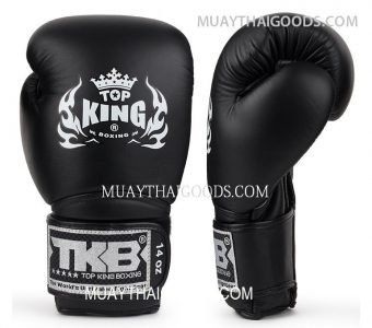 TOP KING LEATHER BOXING GLOVES SUPER BLACK AIR