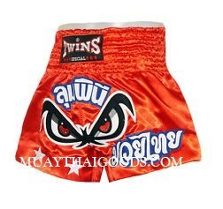 NO FEAR TWINS SPECIAL MUAY THAI BOXING SHORTS RED
