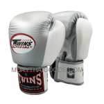 BGVL3 - SILVER WHITE - TWINS SPECIAL BOXING - MUAY THAI GLOVES MADE IN LEATHER