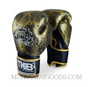 TOP KING LEATHER BOXING GLOVES SNAKE GOLD BLACK