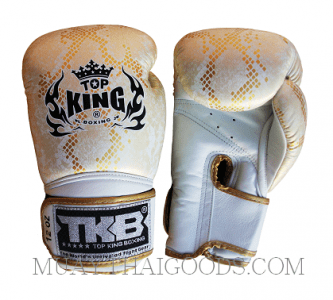 TOP KING LEATHER BOXING GLOVES SNAKE WHITE GOLD