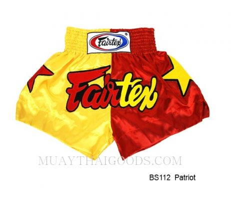 FAIRTEX MUAY THAI BOXING SHORTS PATRIOS BS112 RED YELLOW
