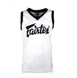 FAIRTEX TSHIRT BASKETBALL JERSEY JS5 SLEEVE LESS WHITE BLACK