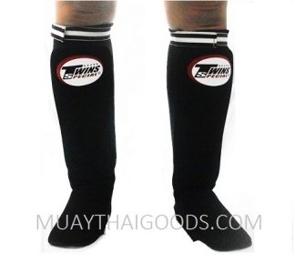 TWINS SPECIAL SHIN PADS PADDED GUARDS ELASTIC SOCKS SGN BLACK