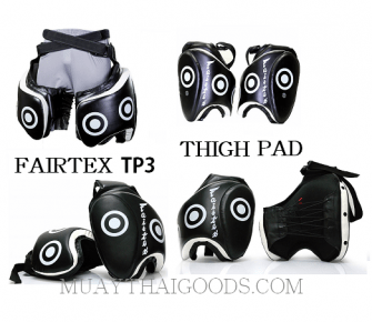 THIGH PADS SYNTEX LEATHER MADE BY FAIRTEX TP3 PROTECTION VELCRO CLOSURE TRAINER GEAR MUAY THAI ( PAIR )