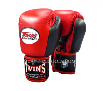 MUAY THAI KICK BOXING GLOVES BY TWINS SPECIAL RED BLACK BGVL3