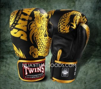 FBGV-49 TWINS SPECIAL BOXING GLOVES DRAGON BLACK GOLD