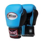 MUAY THAI KICK BOXING GLOVES BY TWINS SPECIAL BABY BLUE BLACK BGVL3