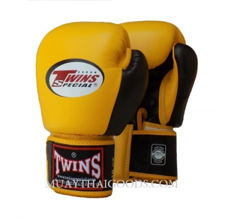MUAY THAI KICK BOXING GLOVES BY TWINS SPECIAL YELLOW BLACK BGVL3
