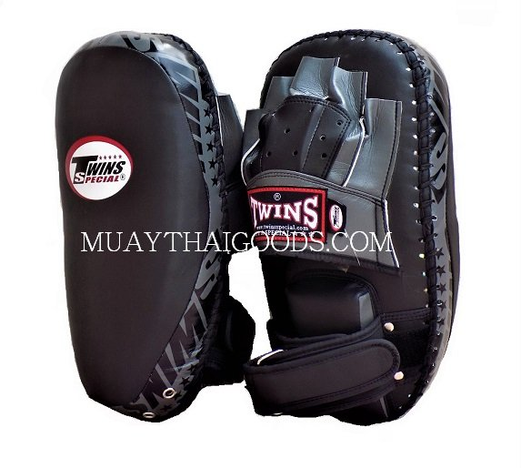 KPL23 NEW FOREARM KICK PADS TRAINING CURVED TWINS SPECIAL BLACK GREY