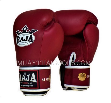 LEATHER BOXING GLOVES BURGUNDY MADE BY RAJA FACTORY AUTHENTIC ORIGINAL WHOLESALE FAIRTEX