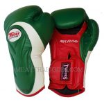 AIRFLOW TWINS SPECIAL BGVL6 DARK GREEN RED PALM MUAY THAI KICKBOXING GLOVES MADE IN LEATHER