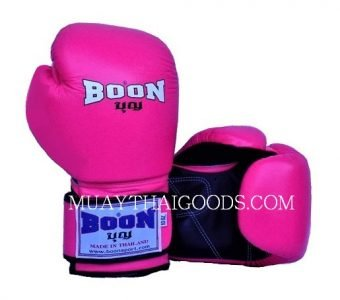 Boon Muay Thai Boxing Glove BGV velcro PINK FLUO MADE IN LEATHER