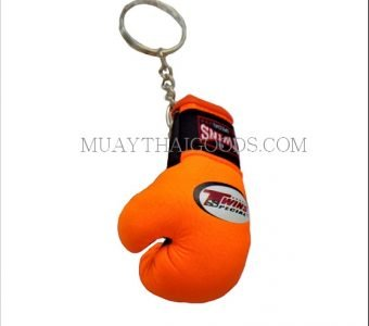 FLUO ORANGE KEYRINGS KEYCHAINS CAR MUAY THAI KICK BOXING GLOVES TWINS SPECIAL