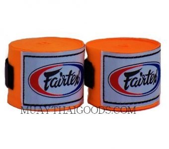 NEW FAIRTEX MUAY THAI KICK BOXING HAND WRAPS ORANGE FLUO HW2 SEMI-ELASTIC