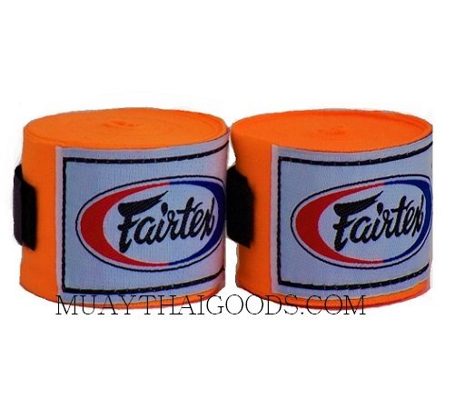 NEW FAIRTEX MUAY THAI KICK BOXING HAND WRAPS ORANGE FLUO HW2