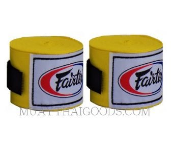 NEW FAIRTEX MUAY THAI KICK BOXING HAND WRAPS YELLOW HW2 SEMI-ELASTIC