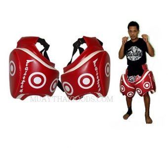 THIGH PADS SYNTEX LEATHER MADE BY FAIRTEX TP3 RED PROTECTION COACH VELCRO CLOSURE TRAINER GEAR MUAY THAI ( PAIR )