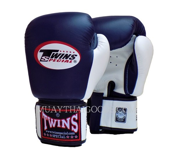 BGVL3 NAVY BLUE WHITE DOUBLE TONE MUAY THAI KICK BOXING GLOVES TWINS SPECIAL