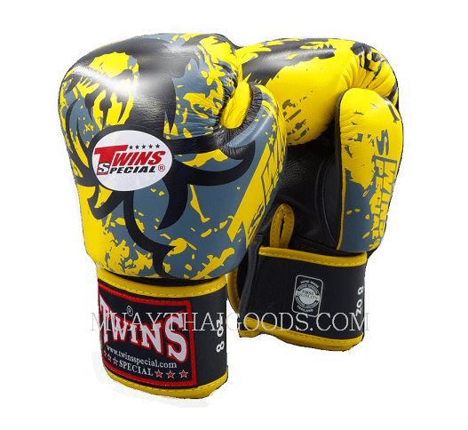 BOXING GLOVES TRIBAL DRAGON FBGV36 YELLOW TWINS SPECIAL