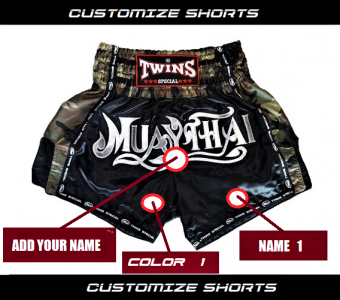 CUSTOMIZE MUAY THAI SHORTS BY TWINS SPECIAL MODEL ARMY SIDE