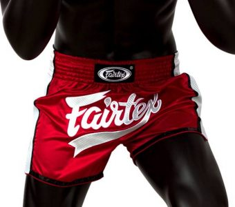 FAIRTEX MUAY THAI BOXING SHORTS SLIM CUT BS1704 Red White Kevlar