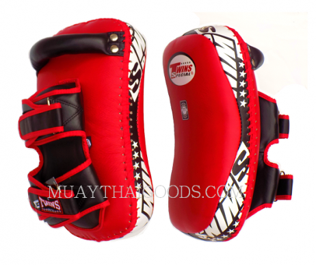 KPL12 LEATHER KICKING PADS FOREARM TRAINING CURVED TWINS SPECIAL RED BLACK