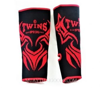 STICHED FAG ANKLE MUAY THAI GUARDS SUPPORT BLACK RED TWINS SPECIAL