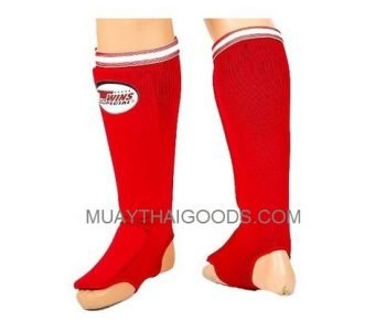 SGN1 RED ELASTIC SOCKS SHIN GUARDS PADDED FOAM TWINS SPECIAL BRAND
