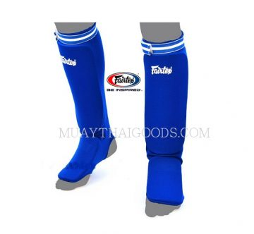 SPE1 BLUE ELASTIC SOCKS SHIN GUARDS PADDED FOAM FAIRTEX BRAND MUAY THAI