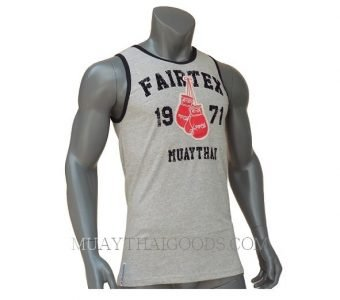 FAIRTEX TSHIRT MTT16 SLEEVELESS GREY COTTON RED BOXING GLOVES 100%