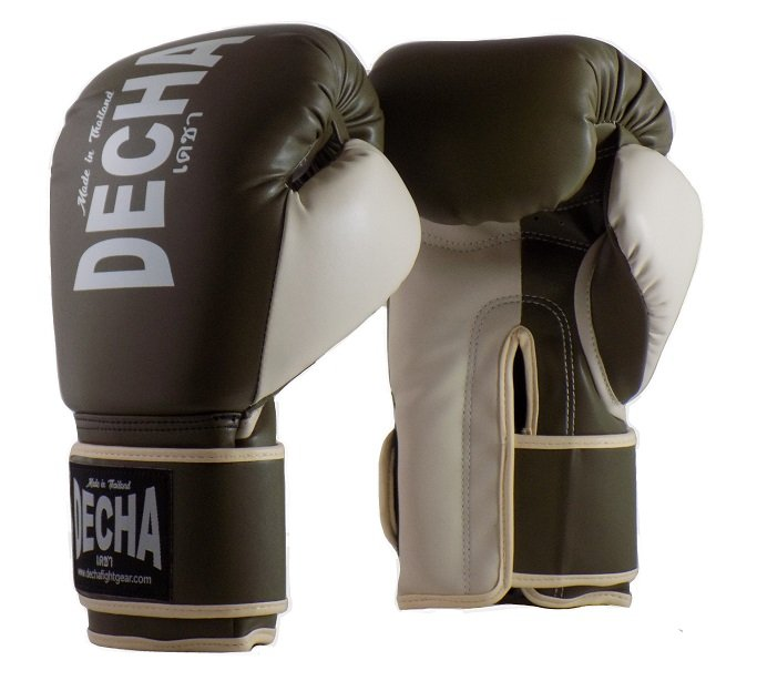 DECHA 4 LAYERS MUAY THAI BOXING GLOVES TIGHT FIT DBGVM1 OLIVE CREAM