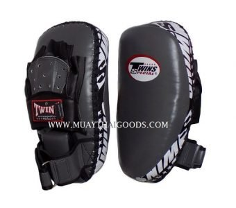 PML23 NEW FOREARM MUAY THAI BOXING KICK PADS TRAINING CURVED TWINS SPECIAL GREY BLACK ( PAIR )