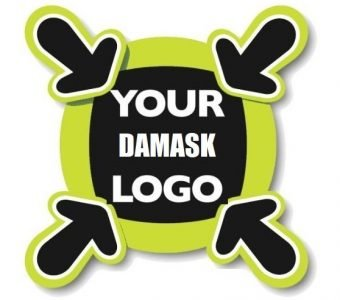 1000 PIECES LOGO DAMASK 9 X 6 cm for CUSTOMIZABLE PRODUCTS