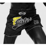 FAIRTEX MUAY THAI BOXING SHORTS SLIM CUT BLACK Kevlar BS1708