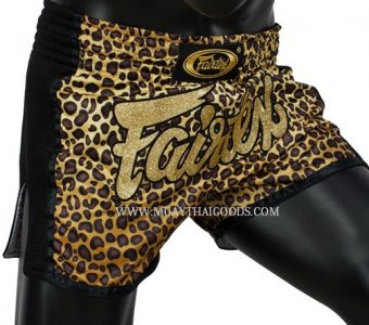 FAIRTEX LEOPARD MUAY THAI BOXING SHORTS GOLDEN TIGER SLIM CUT BS1709
