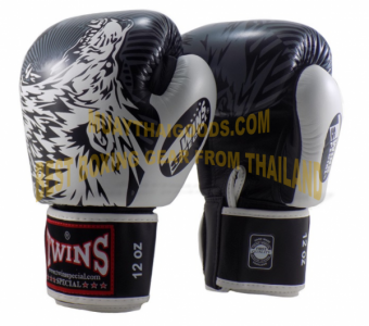 FBGV50 TWINS SPECIAL MUAY THAI BOXING GLOVES BLACK WHITE WOLF