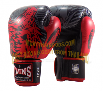 FBGV50 TWINS SPECIAL MUAY THAI BOXING GLOVES BLACK RED WOLF