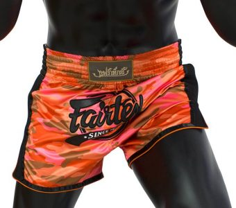 FAIRTEX MUAY THAI BOXING SHORTS SLIM CUT CAMO ORANGE Kevlar BS1711