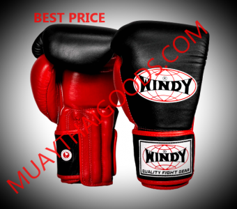 WINDY MUAY THAI STYLE BOXING GLOVES PRO SERIES GBP BLACK RED GENUINE LEATHER