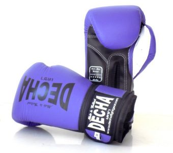 DECHA LEATHER 4 LAYERS MUAY THAI BOXING GLOVES PURPLE BLACKWHITE TIGHT FIT DBGVL1 PRO PERFORMANCE 2.0