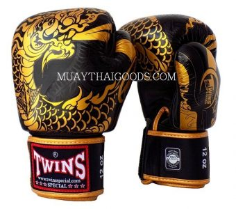FBGV52 TWINS SPECIAL BOXING GLOVES DRAGON BLACK GOLD